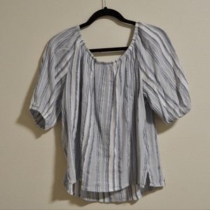 LOFT Striped Peasant Blouse